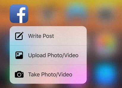 3D Touch in Facebook app