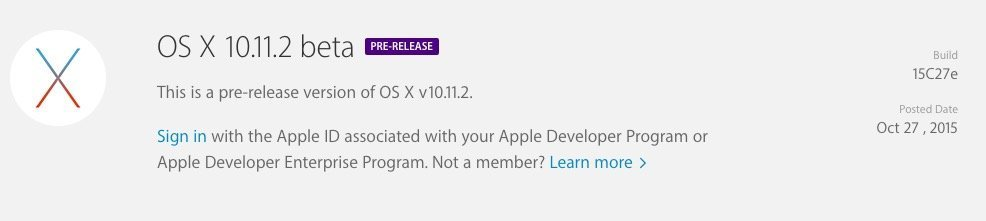 OS X 10.11.2 beta goes out to developers