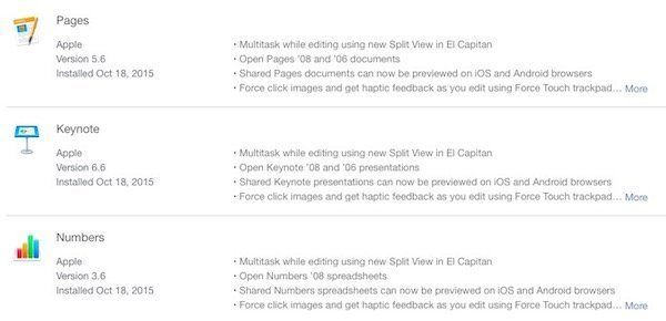Pages, Numbers and Keynote updated for OS X El Capitan with Split View and Force Touch support 1