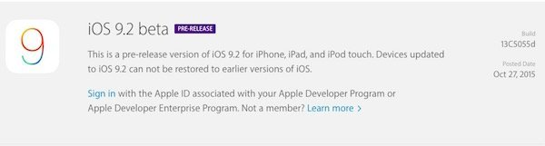 iOS 9.2 beta 1 released to developers