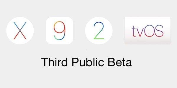 OS X 10.11.4, iOS 9.3, tvOS 9.2 and watchOS 2.2 third pubic betas