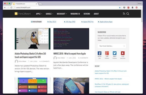 Enable translucency in Google Chrome's title bar on OS X with this flag