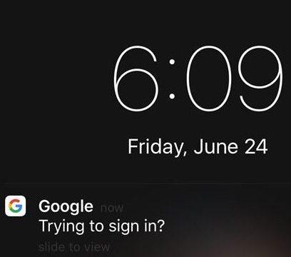 Google Promot notification on iPhone