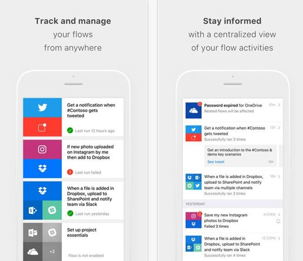 Microsoft Flow for iPhone lets you automate workflows between services