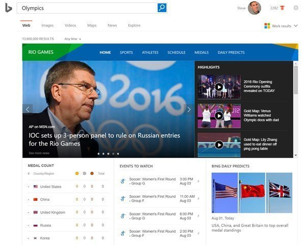 Google and Bing enable Rio 2016 search experiences 2