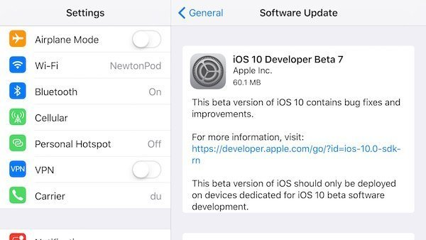 iOS 10 developer beta 7