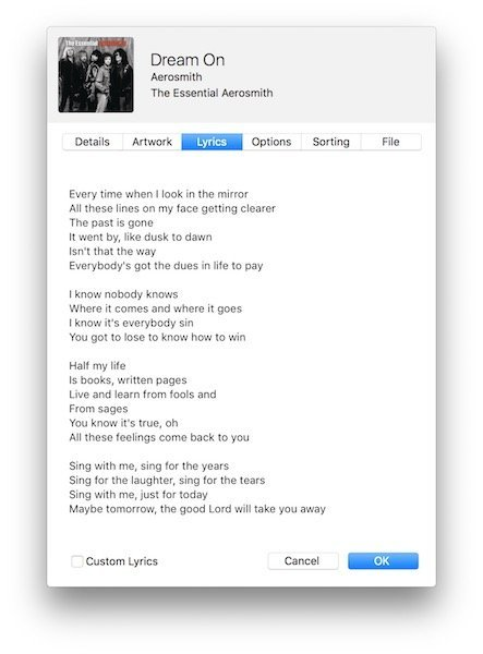 Apple Music lyrics in iTunes 2