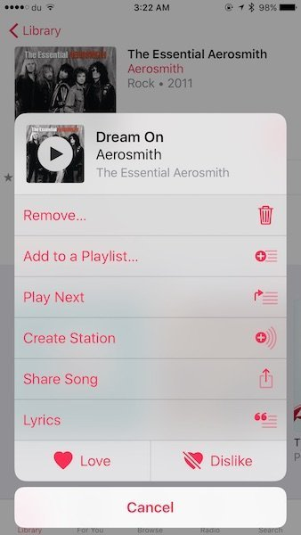 Lyrics in iOS 10 Apple Music 4