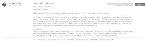 macOS 10.12.1 beta 4 released to developers and public beta testers