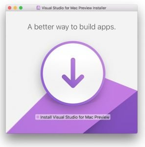 Visual Studio for Mac Preview installation