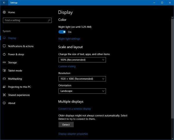 Night light in Windows 10 Setting
