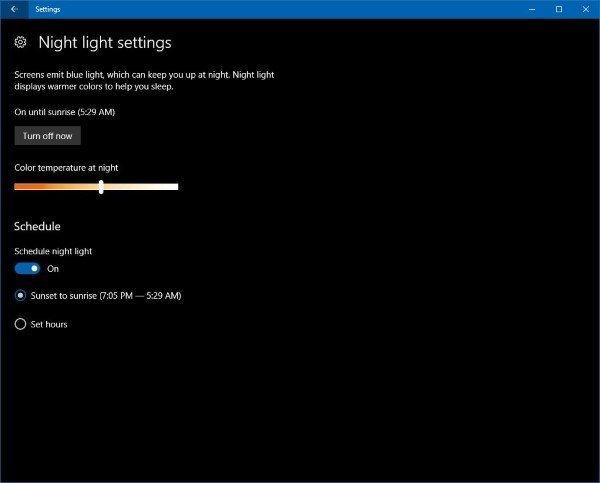 Night light in Windows 10
