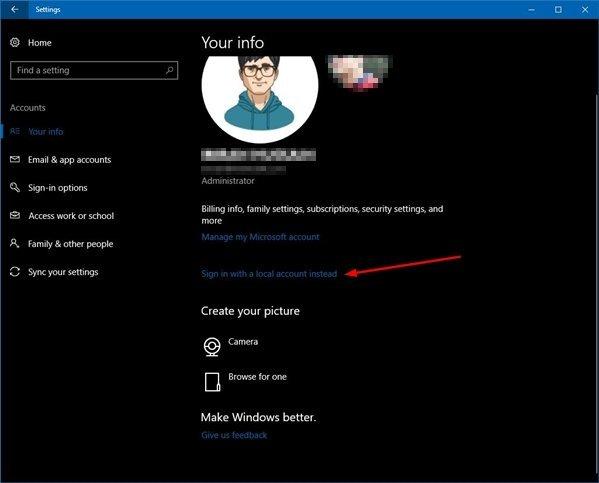 Windows 10 Accounts Settings