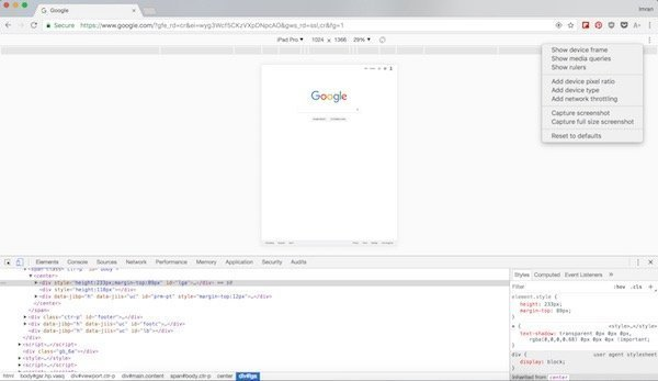 Chrome full page screenshots