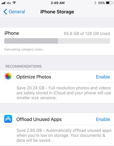 Enable offload app option in iOS 11