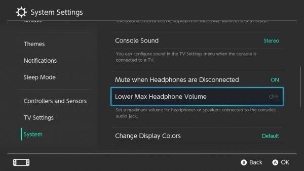 Lower Max Headphone Volume in Nintendo Switch
