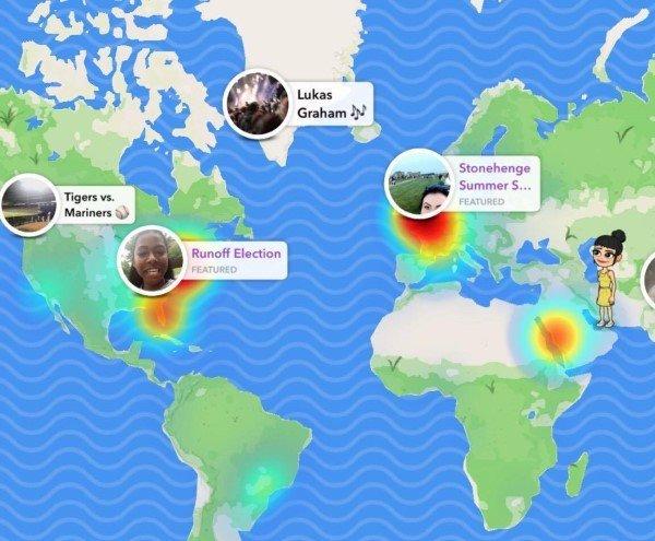 Snap Map in Snapchat