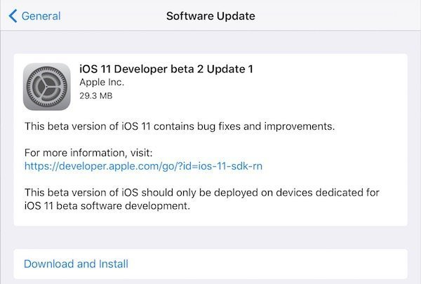 iOS 11 Developer Beta Update 1