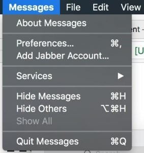 Message preferences macOS High Sierra