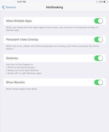 Multitasking Options in iOS 11 on iPad