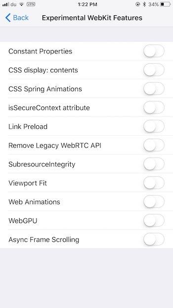 New experimental webkit features iOS 11