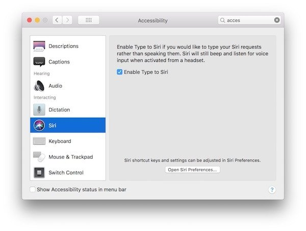 Type to Siri Accessibility macOS 1