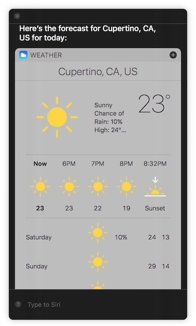 Type to Siri macOS High Sierra 2