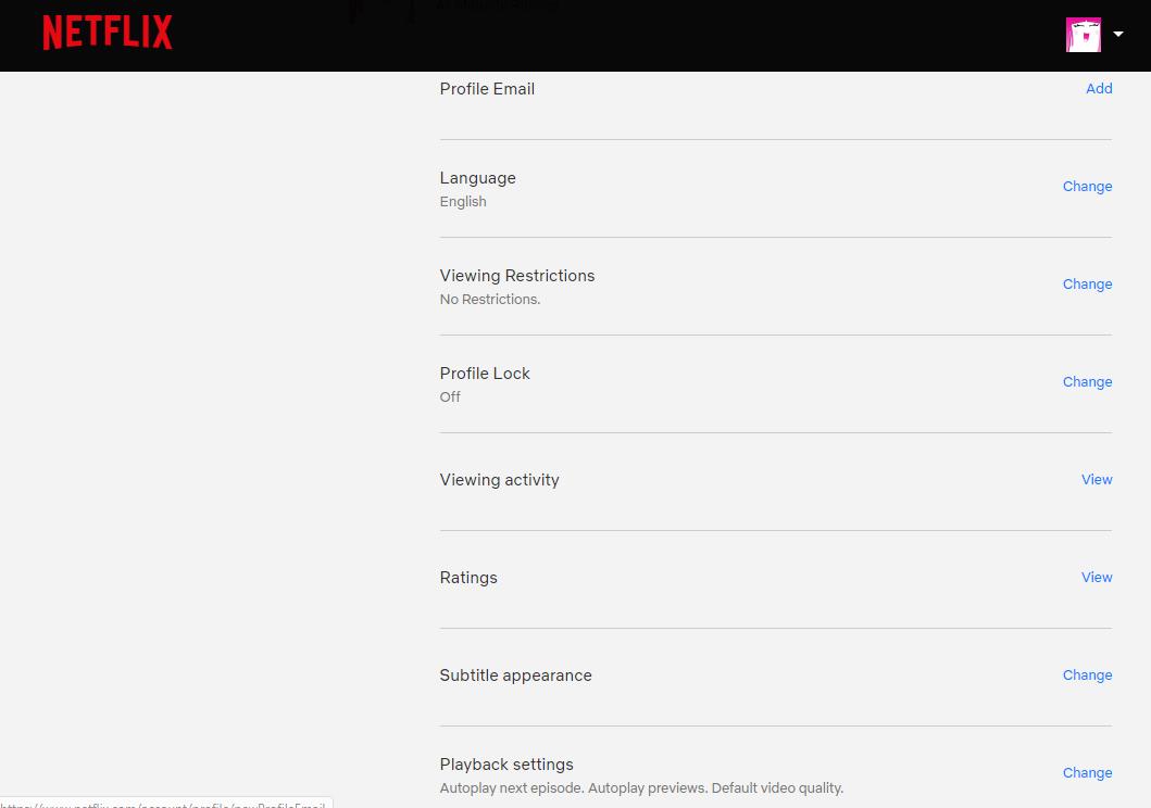 Netflix Profile Settings