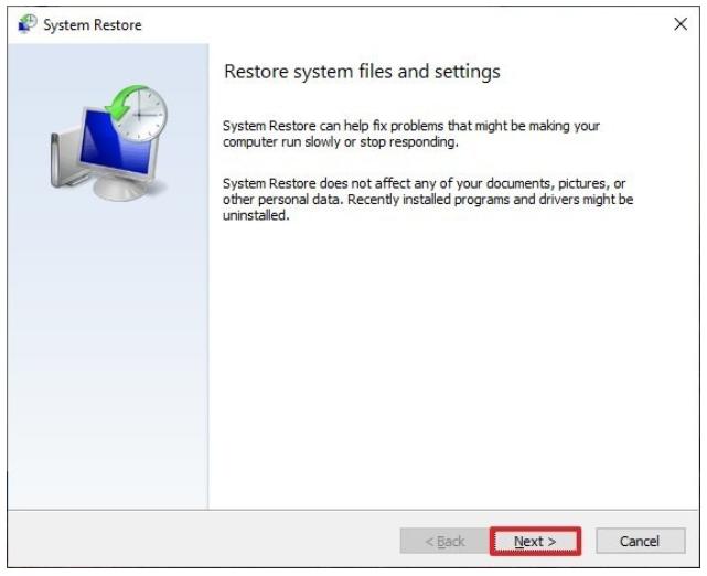 3.4 system restore
