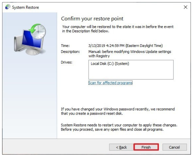 3.9 system restore