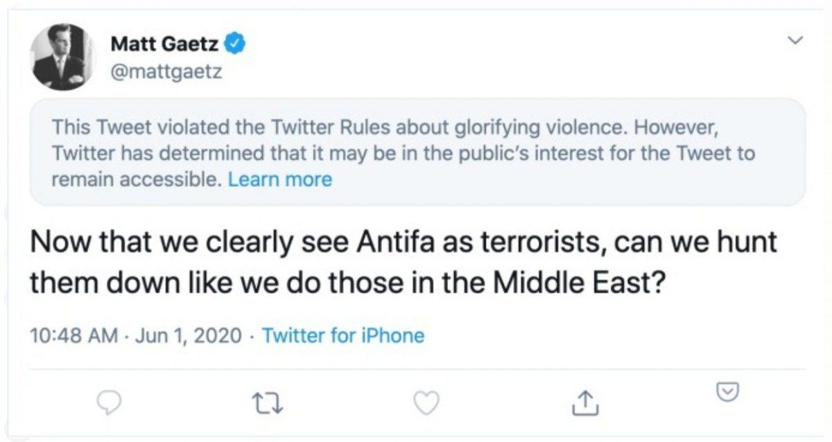 Twitter glorifying violence