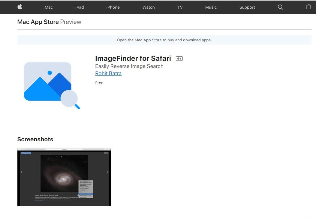 imagefinder for safari