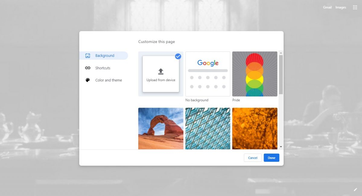 How to set google chrome background 2