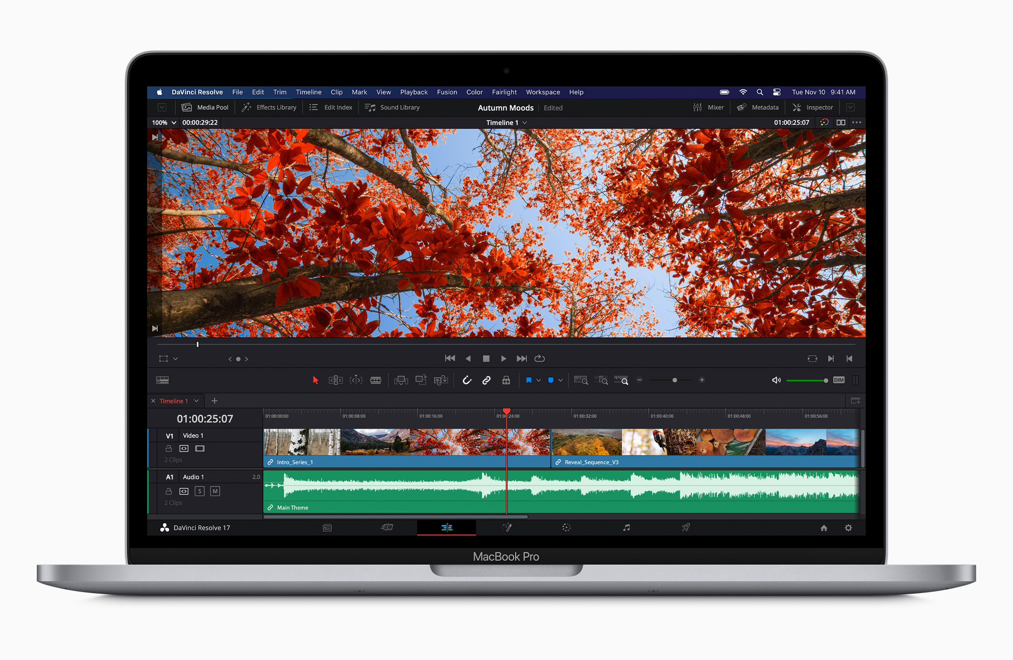 Apple new macbookpro davinci resolve screen 11102020