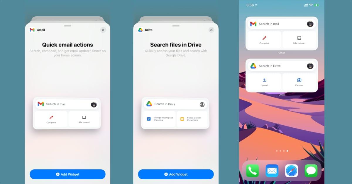 Gmail Google Drive iOS 14 widgets