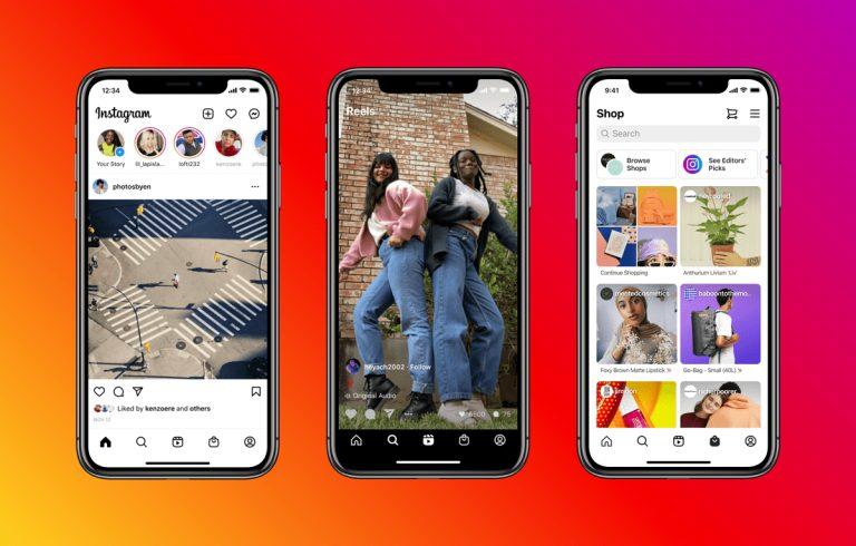 Instagram Home tabs Reel Shop