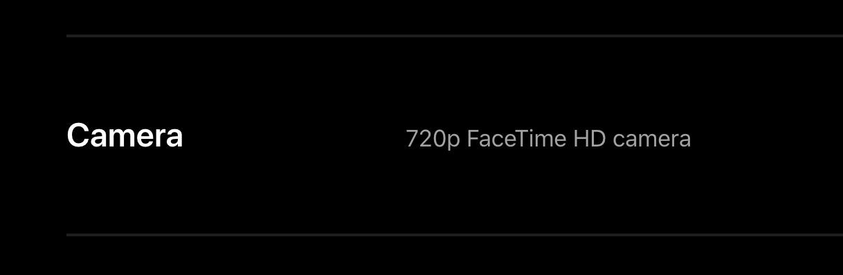 M1 MacBook Pro 720p FaceTime HD Camera