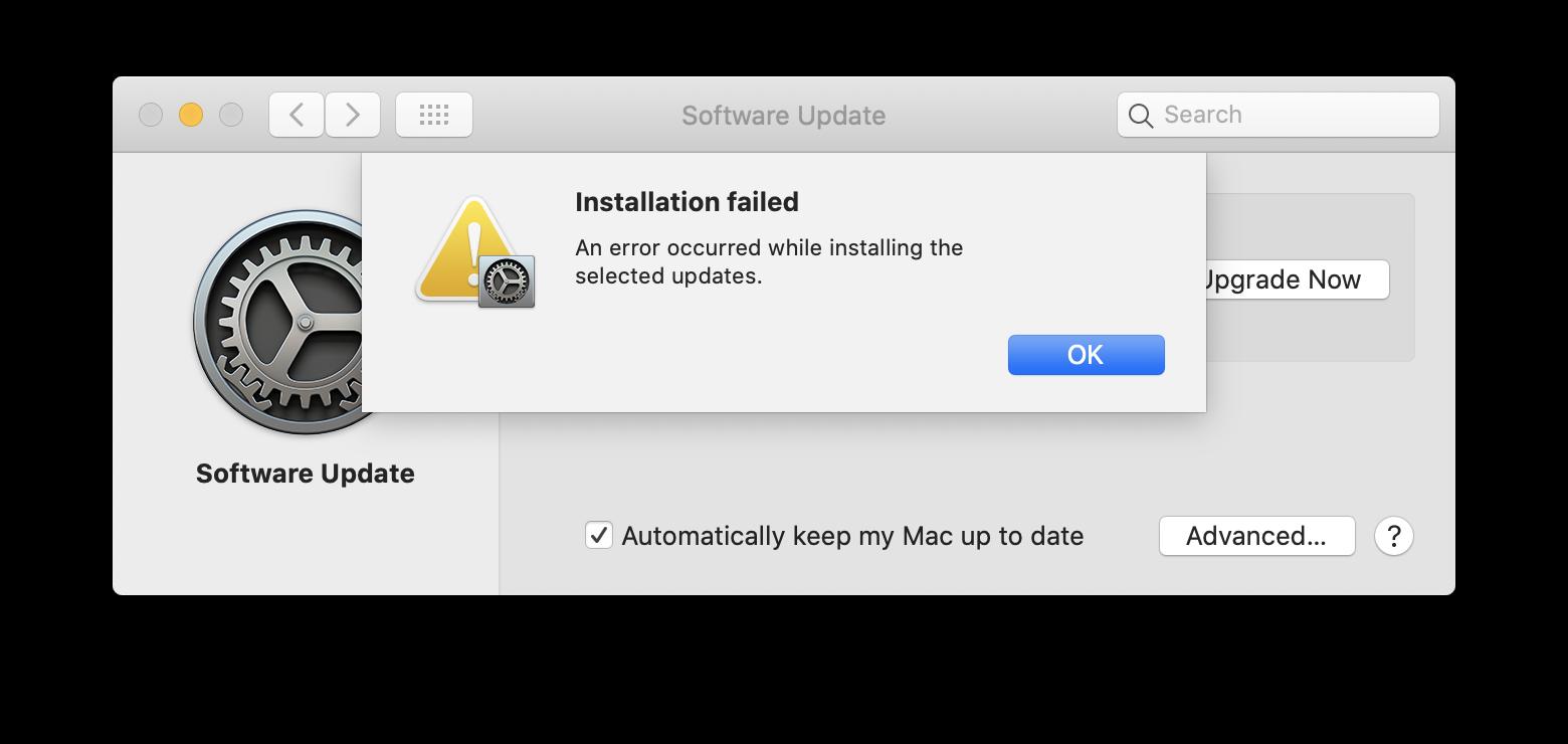 macOS Big Sur Installation Failed