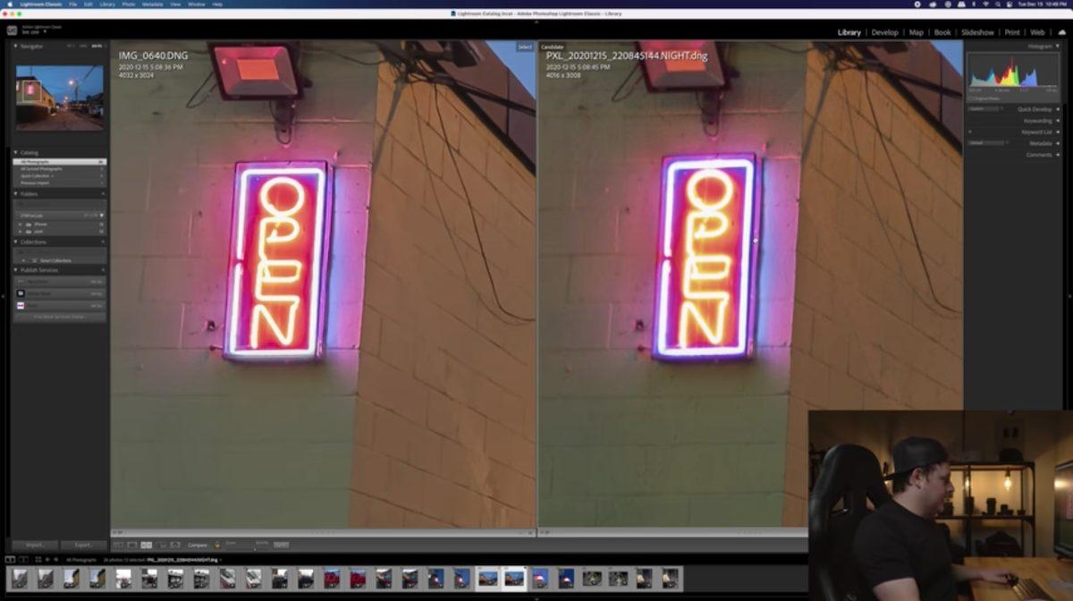 Apple ProRAW vs. Google Pixel Pro sign