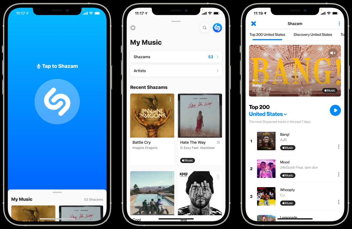 Shazam new design iOS