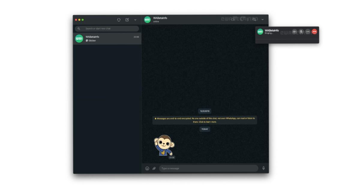 WhatsApp desktop voice and video calling