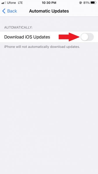 How to stop automatic software updates on iPhone