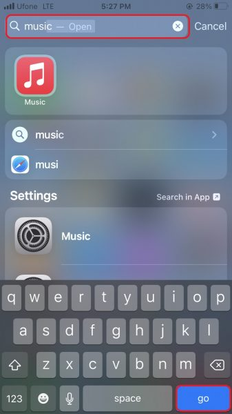 Spotlight Search on iPhone