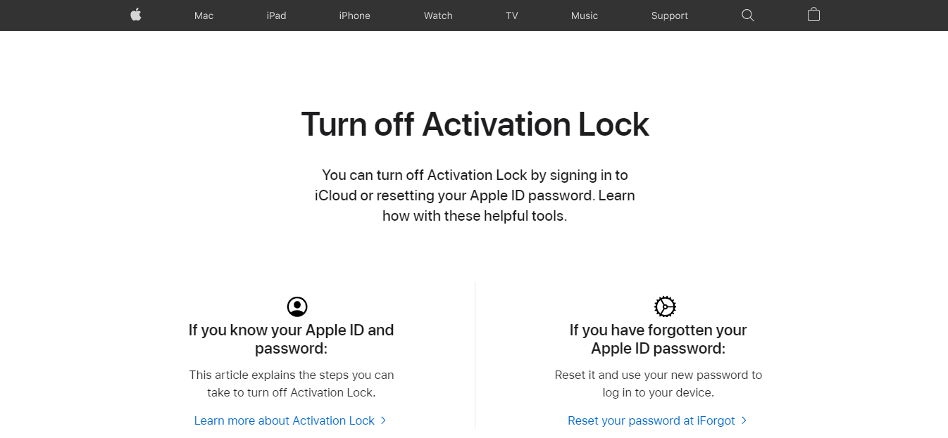 Activation Lock webpage