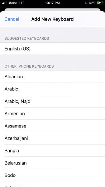 How to change keyboard on iPhone