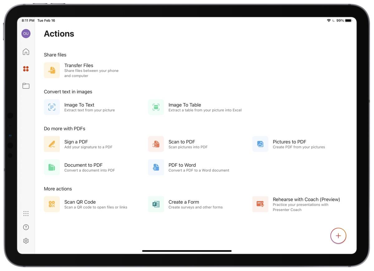 Microsoft Office app for iPad 2