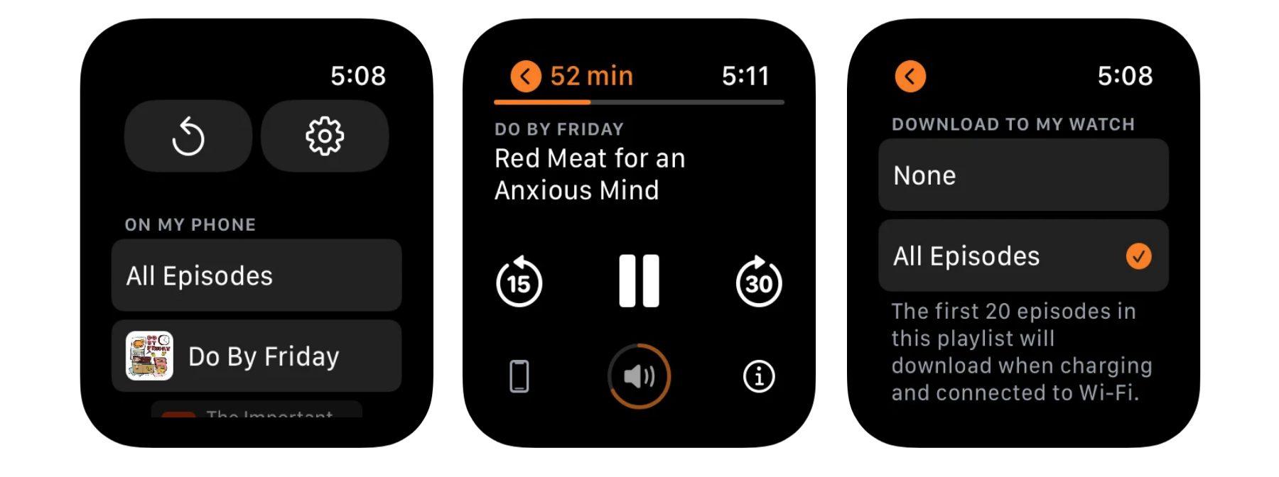 Apple Watch Overcast app