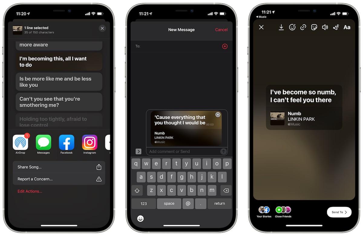 iOS 14.5 Music app lyrics share