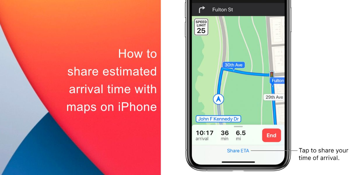 how to share your estimated arrival time with maps on iPhone