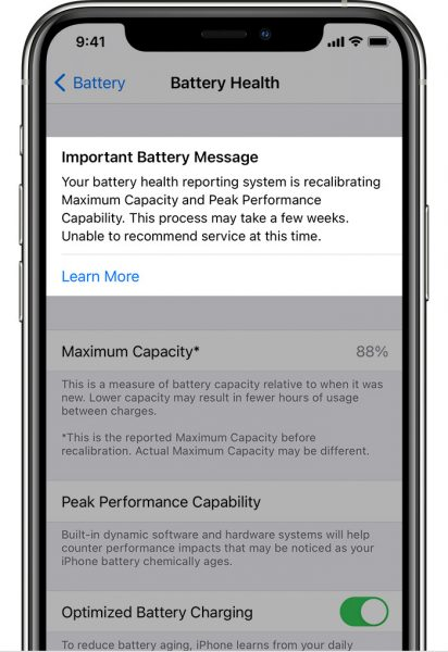 Recalibrate battery health reporting on iOS 14.5